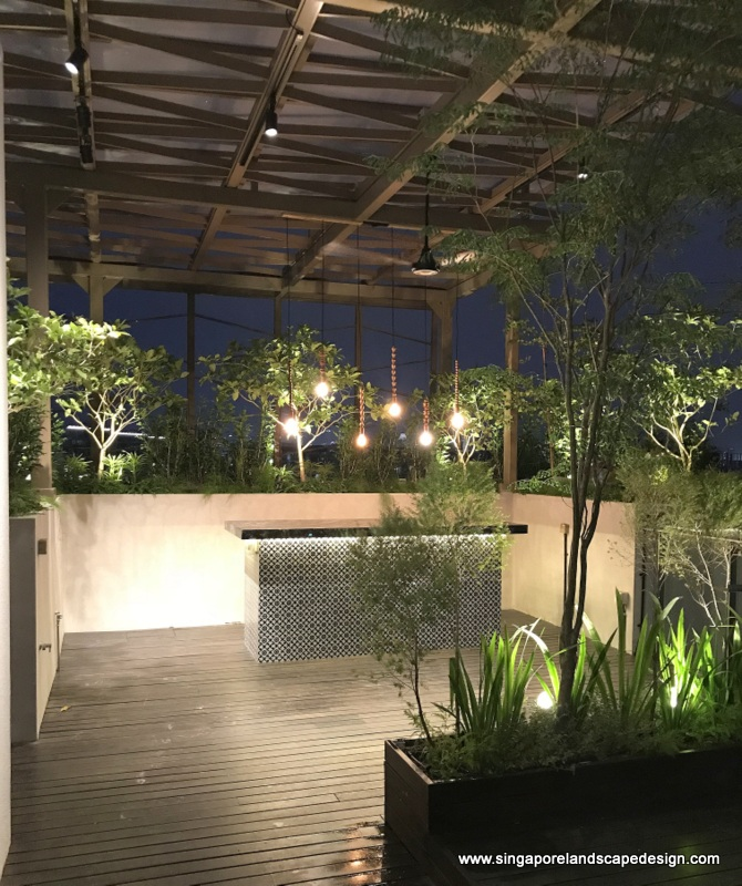 Roof Terrace Renovation : Rooftop Night Garden | Singapore ...